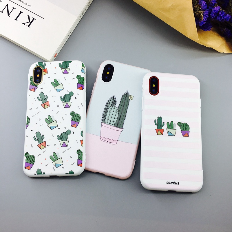 Cactus Plants Painting Pattern Iphone X 6 6S 7 Plus Soft TPU Rubber Silicon Cases Back Cover Coque For Iphonex
