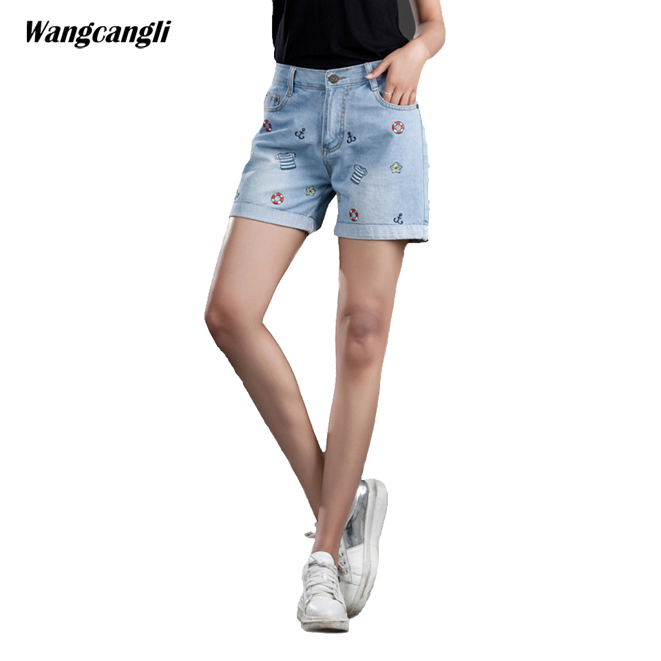 jeans women shorts blue embroidery circle Five-pointed star Large size denim summer female elastic waist denim 5XL wangcangli wangcangli jeans women shorts light blue large size denim fat sister elastic waist mid waist jeans moustache effect summer 4xl