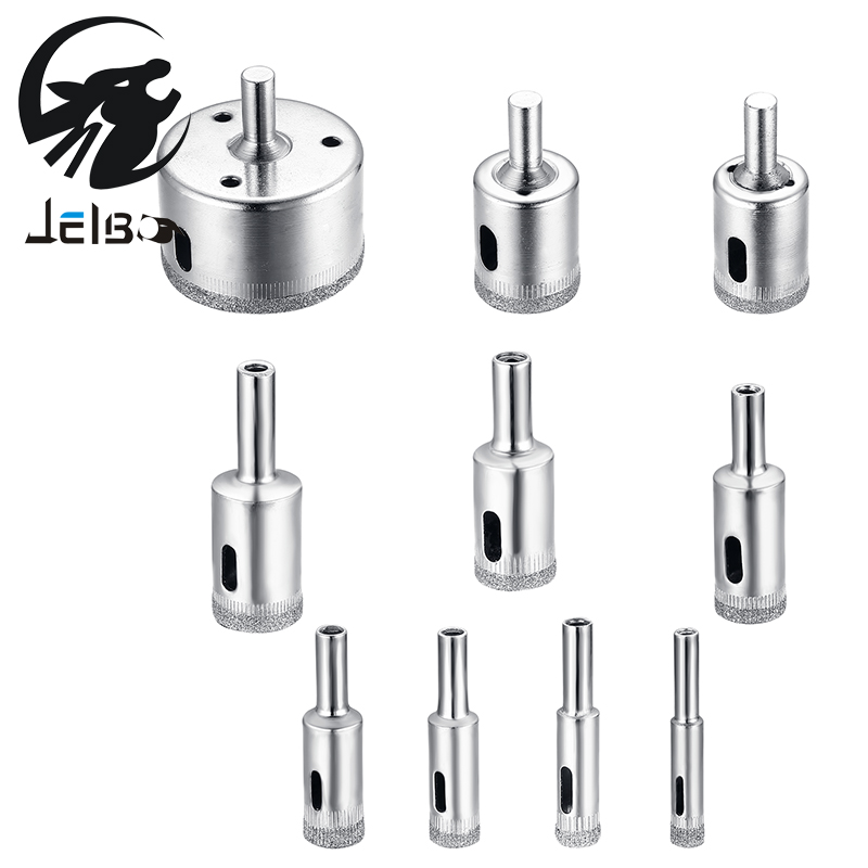 Jelbo 10pcs/set Drill Bit Set 8-50mm Diamond Coated Core Hole Saw Drill Bits Tool Cutter For Ceramic Tiles Marble Glass Granite 60 mm 2 3 8 inch diamond hole saw granite drill bit coated masonry drilling cutter tools for stone marble glass ceramic tile