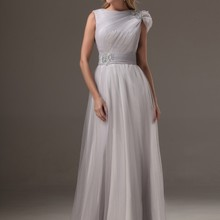 2019 Real Silver Long Bridesmaids Dresses Modest A-line Pleats Tulle  Country Rustic Formal Wedding 45126003d236