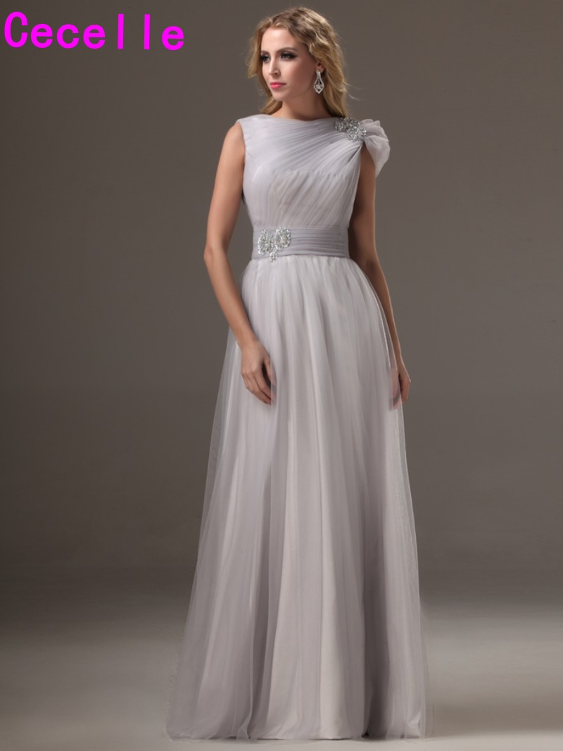 2019 Real Silver Long   Bridesmaids     Dresses   Modest A-line Pleats Tulle Country Rustic Formal Wedding   Bridesmaid   Robes Party Gowns