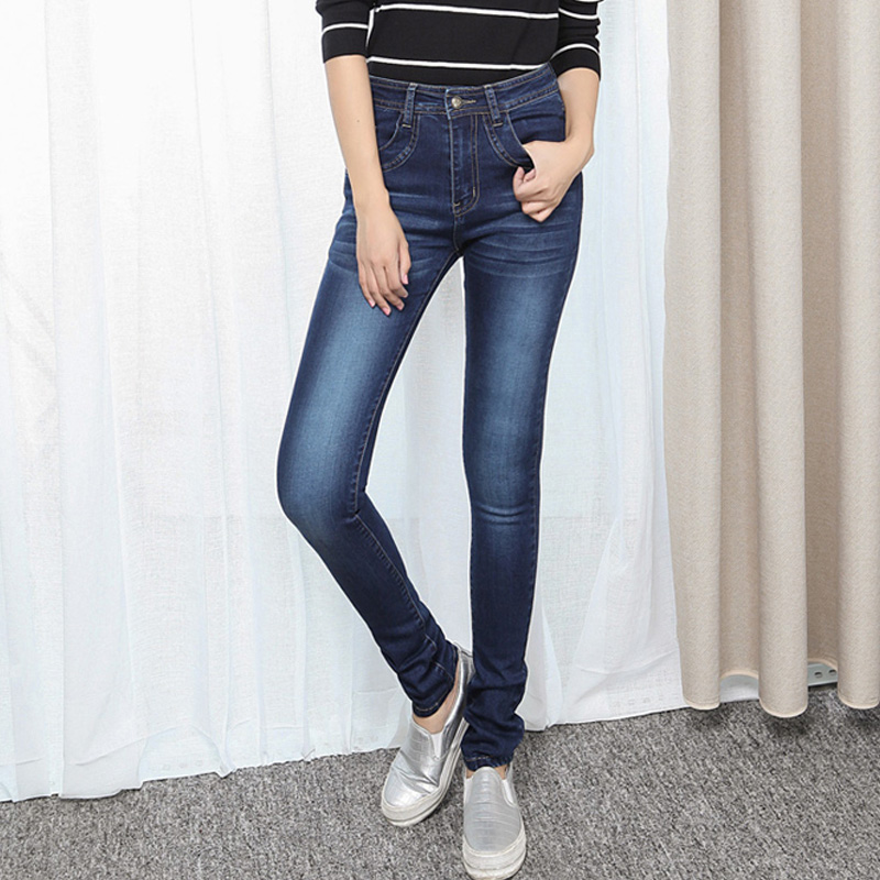 Spring Autumn Fashion Mid Waist Jeans High Elastic Plus Size Women Jeans Woman Femme Washed Casual Skinny Pencil Denim Pants autumn fashion mid waist jeans high