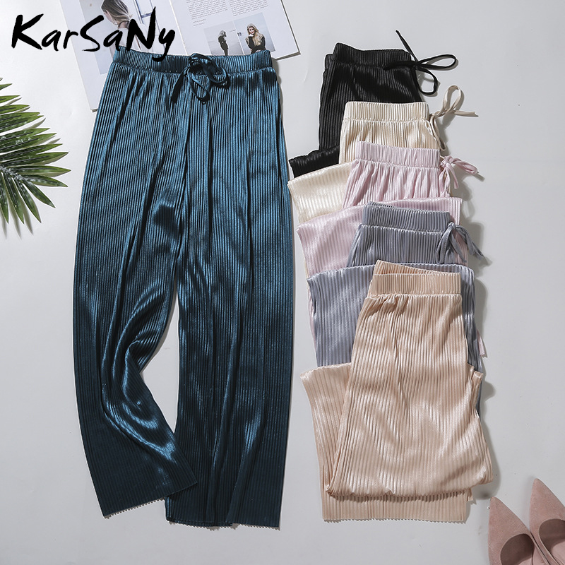 KarSaNy Summer Trousers Women   Wide     Leg     Pants   High Waist Ladies Soft Loose Summer   Pants   Women Pantalon Femme Ete Black Trousers