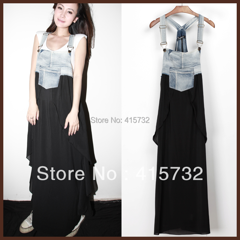 Free Shipping 2013 New Arrival Summer Denim And Layered Chiffon Patchwork Suspenders For Women Long Maxi Jeans Asymmetric Dress