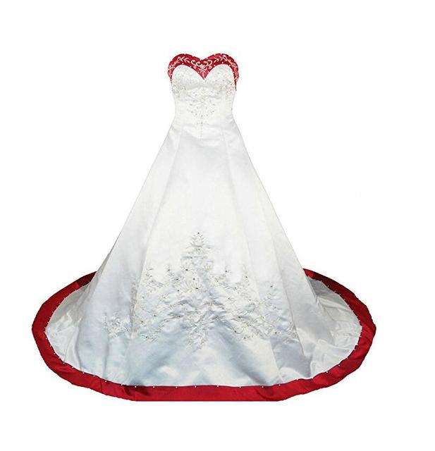 Embroidery Red And White Wedding Dress Plus Size Beads Women Satin