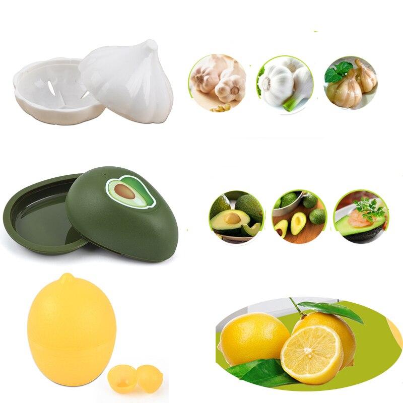 1pcs Fresh Storage Box Lemon Avocado Garlic Plastic Vegetable Fruit Containers Kitchen Refrigerator Organizer Lemon Storage Case
