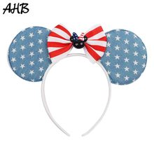 AHB 4th of July Stars Ears Headband for Girls Cartoon Mouse Hair Bows Hairband Independence Day Party Accessories