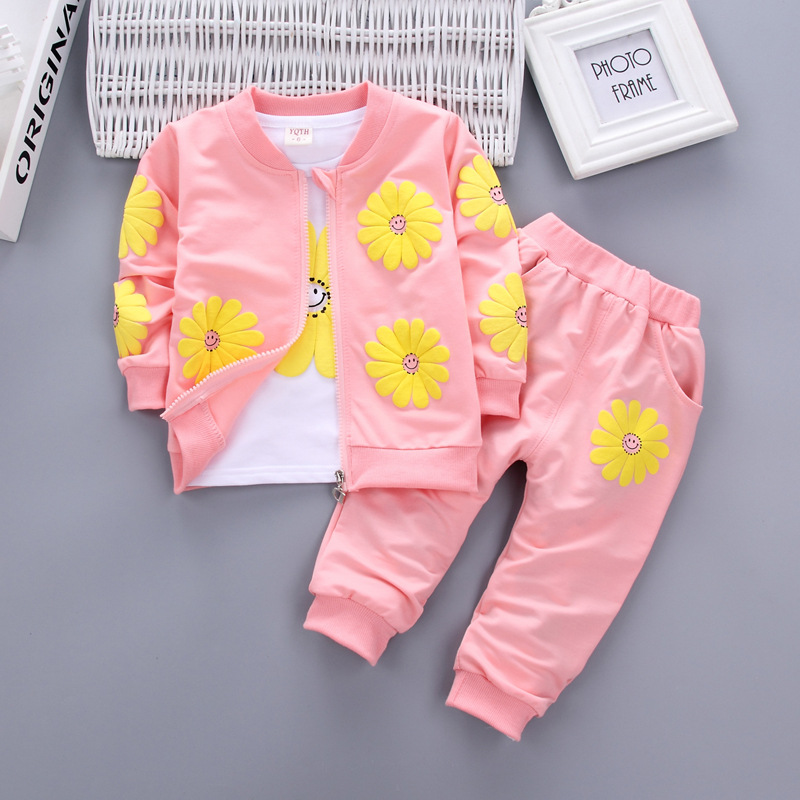 Bibicola baby girls spring clothing sets fashion kids girl t-shirt +loose coat +pant 3pcs sets children casual sport suits