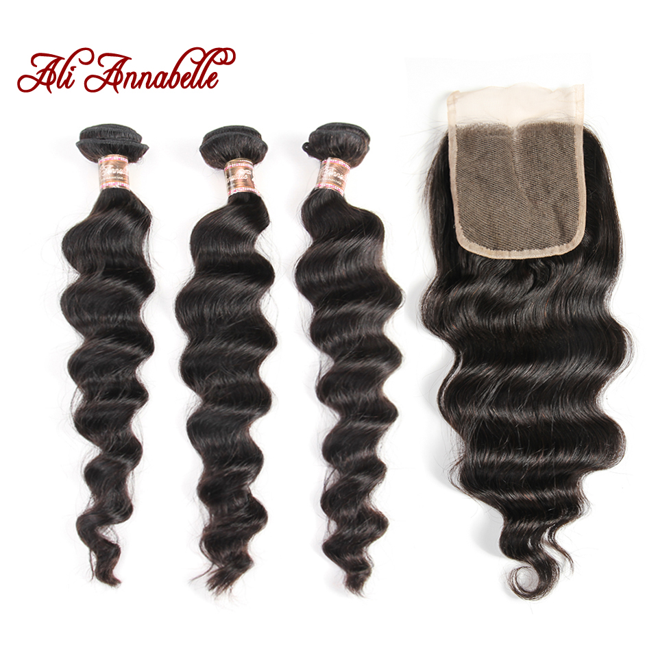 ALI ANNABELLE Malaysian Loose Wave 3 Bundles With Closure 100 Hair Extensions Remy Human Hair Bundles