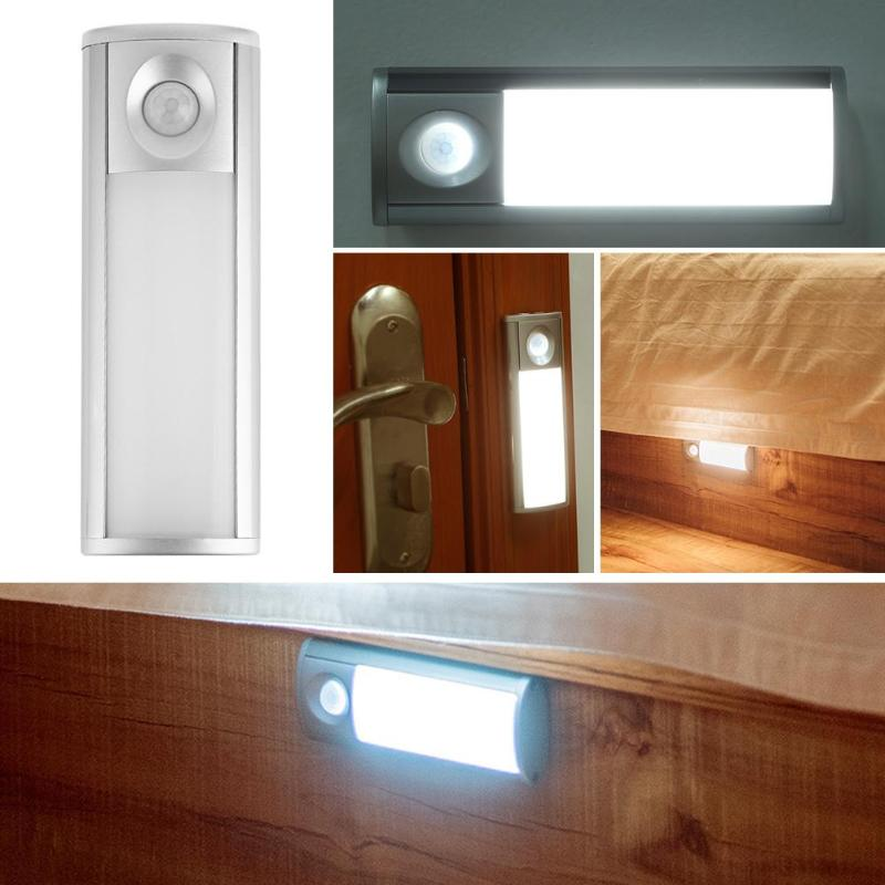 Home IR Infrared Induction Night Light USB Charging LED Bedside Wardrobe Closet Stair Lamp Warm White/White Lighting