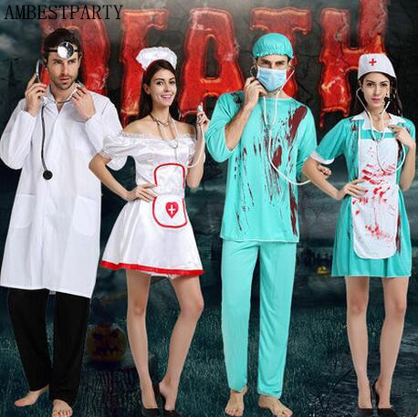 Hot 2017 Halloween Bloody Doctor Costumes Horror Killer Cosplay Performance Show Role Play Doctor Nurse Chef Dress Ambestparty