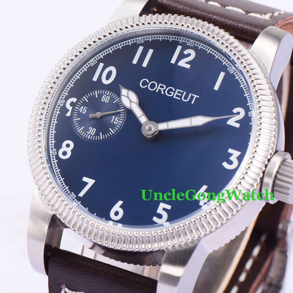 Corgeut 45mm Blue Dial White Marks WristWatches 6497 Mens Mechanical Hand Winding Watch Luminous Armbanduhr CM2003BSL