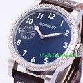 Corgeut 45mm Blue Dial White Marks WristWatches 6497 Mens Mechanical Hand Winding Watch Luminous Armbanduhr CM2003BSL