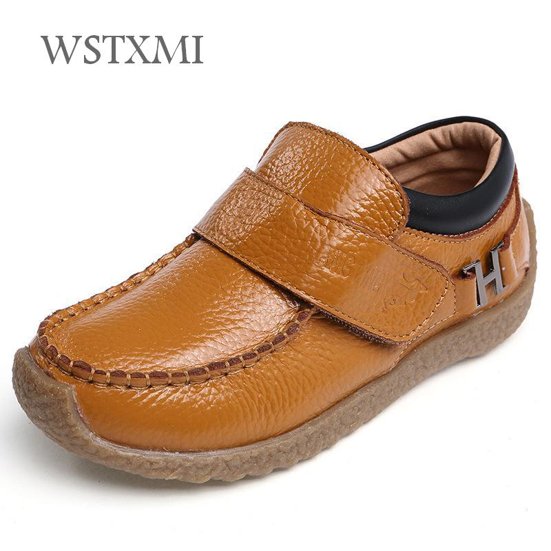 Boys Genuine Leather Shoes For Children Vintage Oxford Black Kids Loafer Moccasins Shoes Wedding Casual Fashion Flats Soft Sole