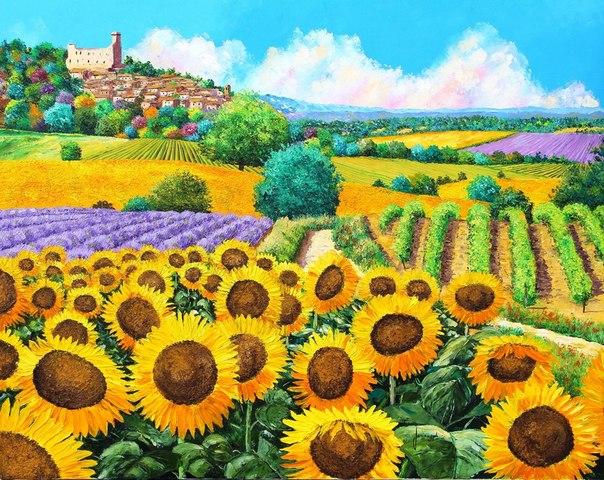 Vineyard and sunflower Scenery Embroidery Needlework 14CT Counted ...