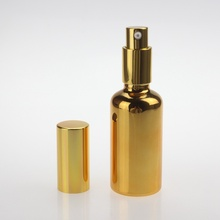 Hot Sell Gold And Silver Color UV Coating 50ml Lotion Bottle With Pump, Empty Glass Cosmetic