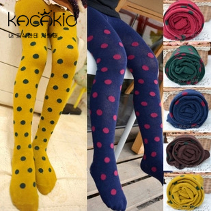 KACAKID Children Girl Tights Pantyhose Colors Dots Kid Baby Children Girls Tights Pantyhose Cotton Girls Tights Pantyhose Ka1023