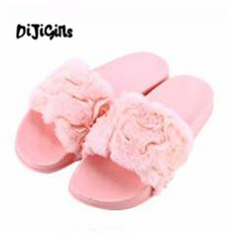 Fashion 2018 Women Fur Slippers Platform Plush Home Slippers Women Shoes Fur Slides 3d Lace Flowers Shoes Women Sandalias Mujer designer fluffy fur women winter slippers female plush home slides indoor casual shoes chaussure femme