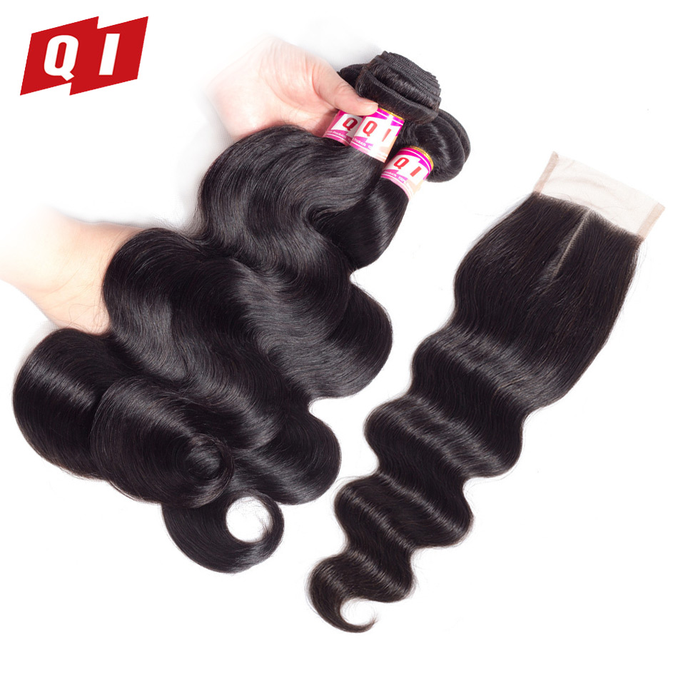 QI Hair Body Wave Brazilian Hair Non Remy 3 Bundles With Closure Natural Color 100% Unprocessed Human Hair Extensions