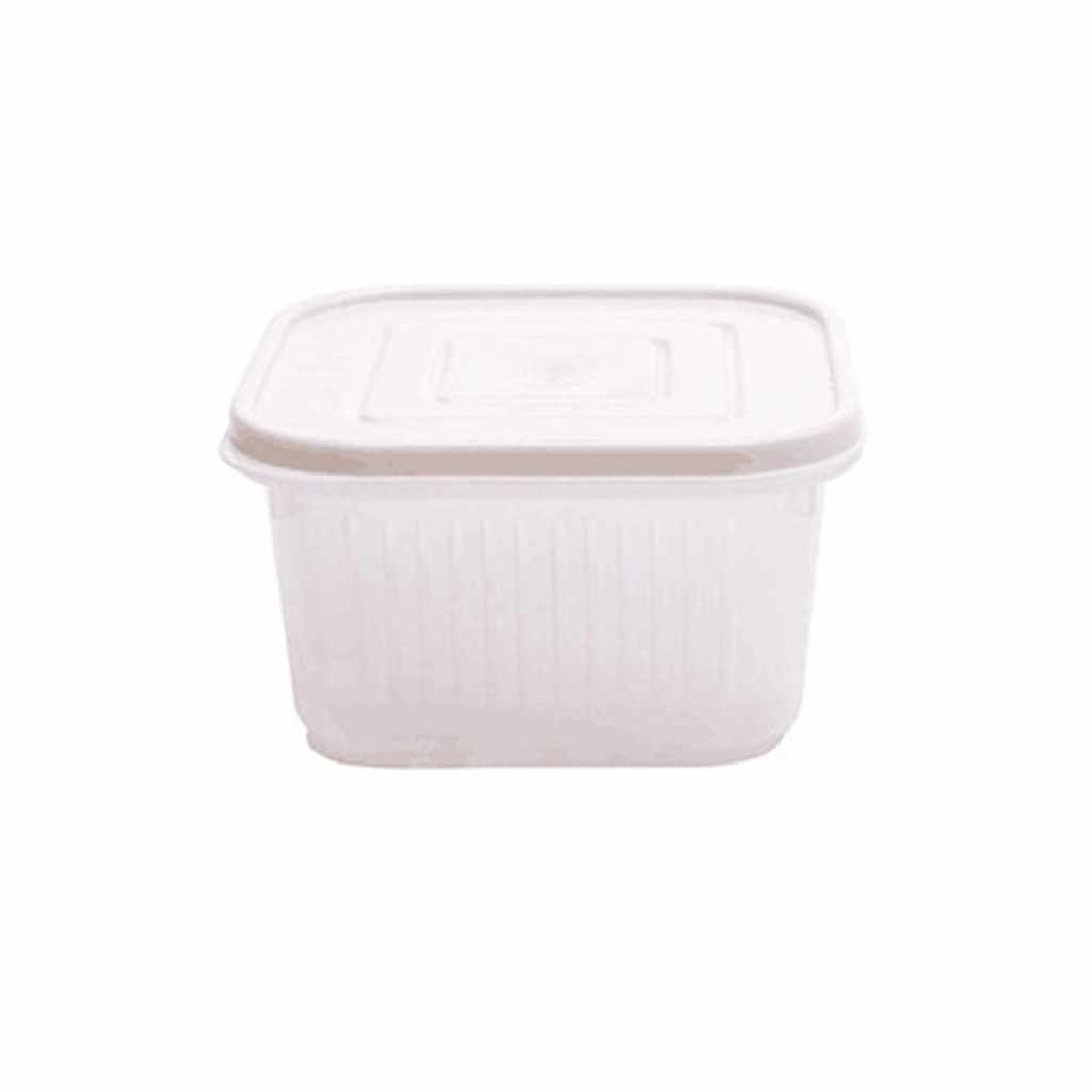 Caja de almacenamiento de drenaje cuadrado Caja Sellada Organizador jengibre ajo cebolla contenedor de alimentos refrigerador cajas de almacenamiento de plástico Organizador
