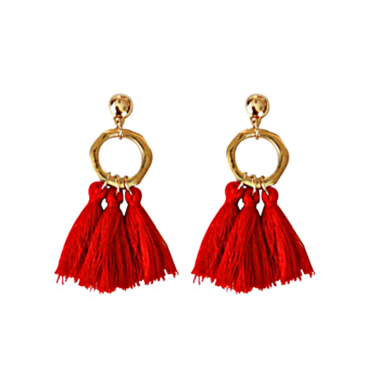 Vintag Metal Dangle Earrings Statement Red Cotton Tassel Earring Ethnic Gold Color Round Short Tassel Drop Earrings For Women