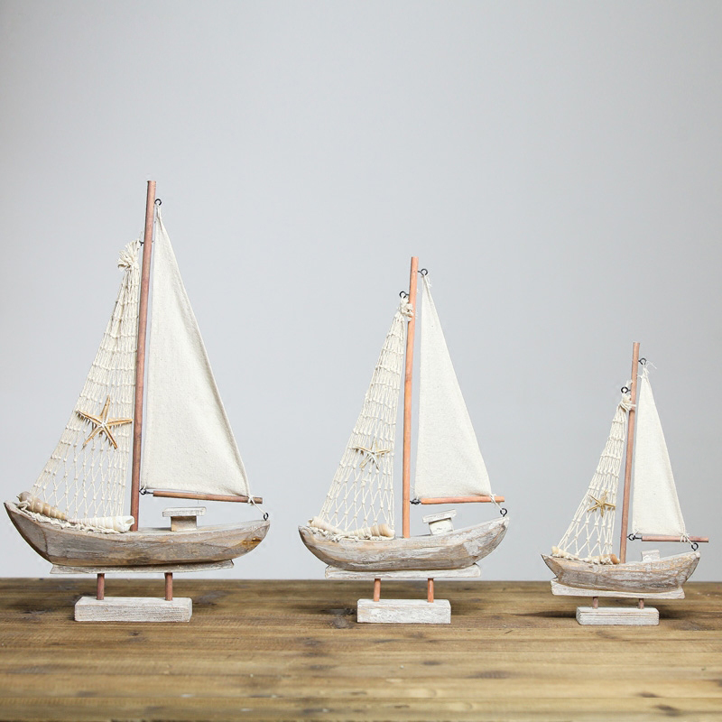 American Wood Sailboat Figurines Saling Ship Home Office Desktop Miniature Marine Sailing Boats Home Decor Crafts Gifts