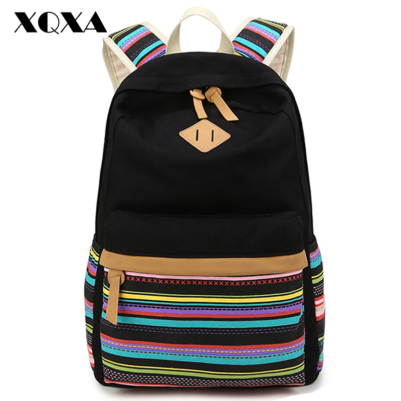 XQXA Canvas bohemian printing backpack women school bags for teenagers girls rucksack women backpacks ladies bolsas