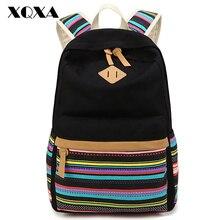 XQXA Leinwand böhmischen druck rucksack frauen schultaschen für jugendliche mädchen rucksack frauen rucksäcke damen bolsas mochila