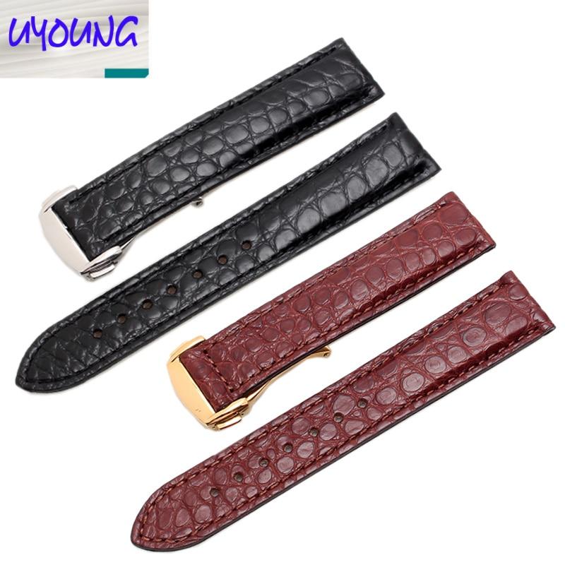 UYONG 100% montre bracelet cuir crocodile avec montre universelle homme et femme 20 22mm noir pour OMG
