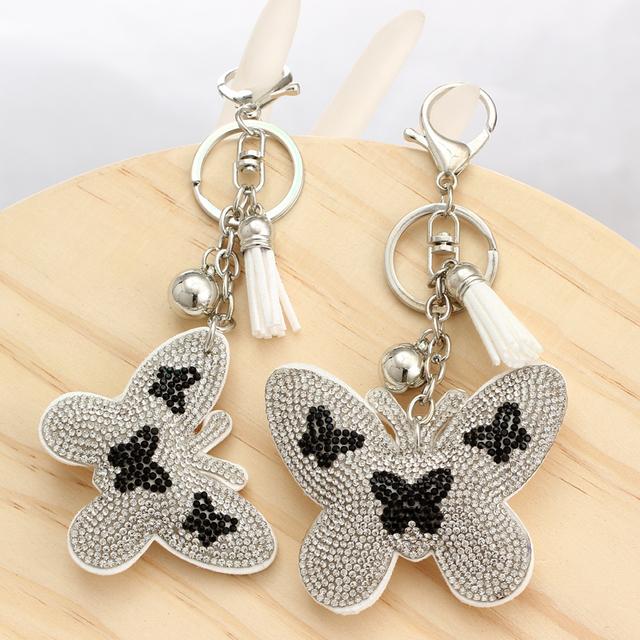 Butterfly Leather Tassel Keychain