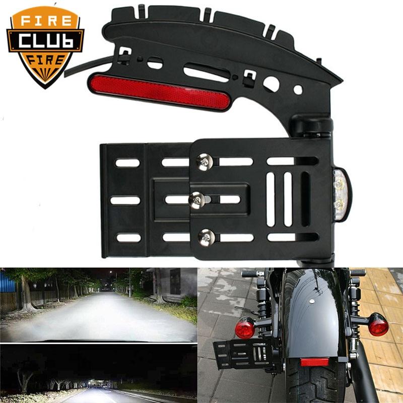 Moto télescopique pliant lumière LED support de plaque d'immatriculation de montage latéral pour Harley Dyna Fat boy Sportster 883 1200 XL 07-16