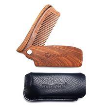1PC Sandalwood Wooden Folding Beard Brush Pocket Hair Brush
