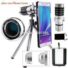 Cheapest prices 9 Piece Camera Self Kit:AWESOME 3 Lenses+12X Optical Tripod Telescope Lens+Phone Case For Samsung Galaxy NOTE S7 S8 S6 Edge PLUS