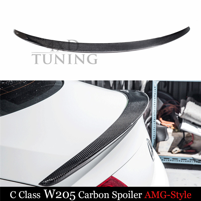 For Mercedes W205 Spoiler AMG Style C Class W205 C200 C300 C180 Carbon Fiber Rear Spoiler Trunk Wing Coupe 2014 2015 2016 - UP for mercedes w213 spoiler e class 4 door sedan e200 e220 e250 e300 carbon fiber rear trunk spoiler wings e63 style 2016 up