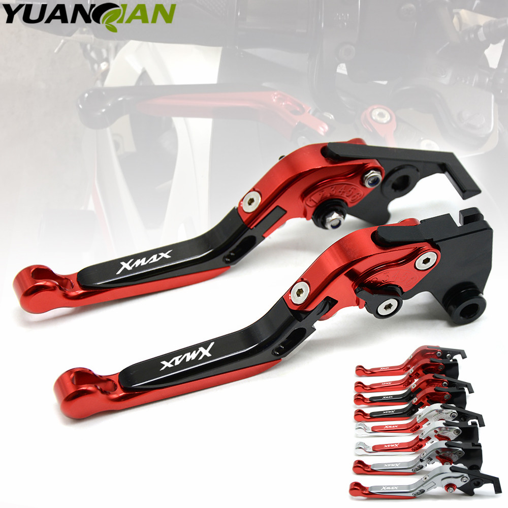 with logo XMAX Motorcycle CNC aluminum Adjustable brake clutch levers For Yamaha X-MAX 250 300 400 handle bar accessories for yamaha bt1100 bulldog 2003 2004 motorcycle accessories cnc aluminum adjustable short brake clutch levers gold