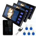 "7"" Wired Video Door Phone Intercom System 3 Monitor+1 Kit IR Night Vision Camera With Password Panel+Remote Controller+5 keyfobs"