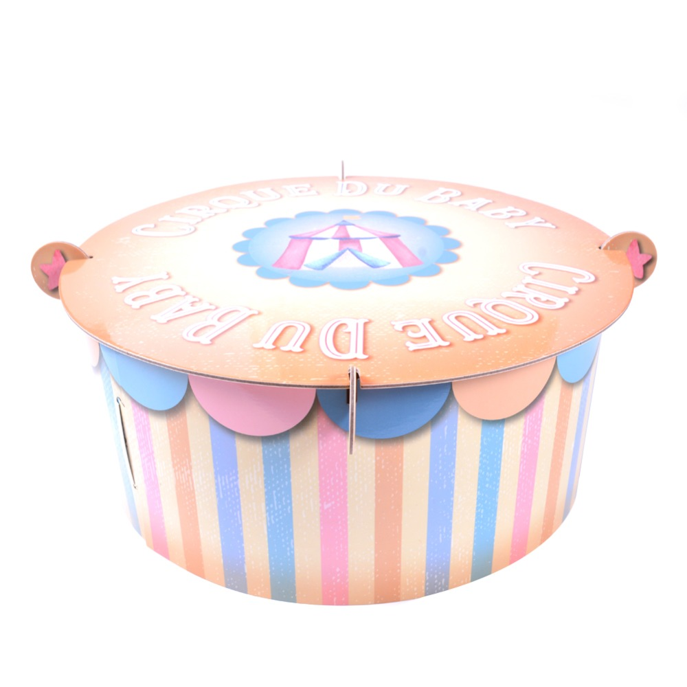 Pink Blue Cirque Du Baby Cake Tray 1st Birthday Shower Cupcake Stand Table Centerpiece Cartoon Tent Carnival Party Supplies in Party DIY Decorations from Home Garden