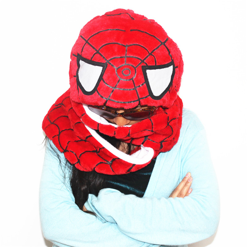 SPIDER MAN Cosplay Kigurumi Winter Warm Plush Hat Combine Cap Scarf and Glove