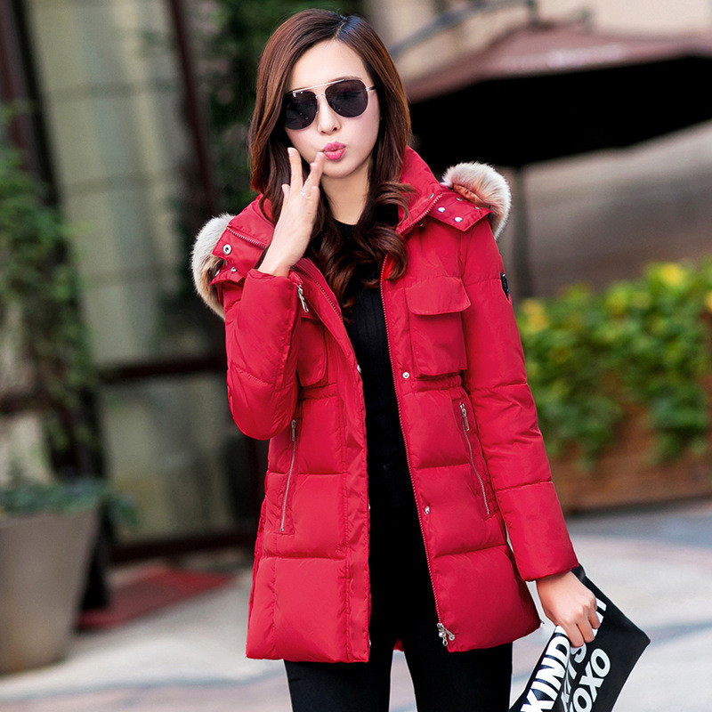 Autumn & winter women New coat jacket big collar  in the long section  cotton yards large was thin down jacket for girl 2017 new korean version of the long section collar coat female waist was thin trade down jacket winter coat tide behalf cc278