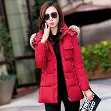 Осень и зима женщин Новое пальто куртка большой воротник в длинный отрезок хлопка ярдов большой был тонкий пуховик для девочки