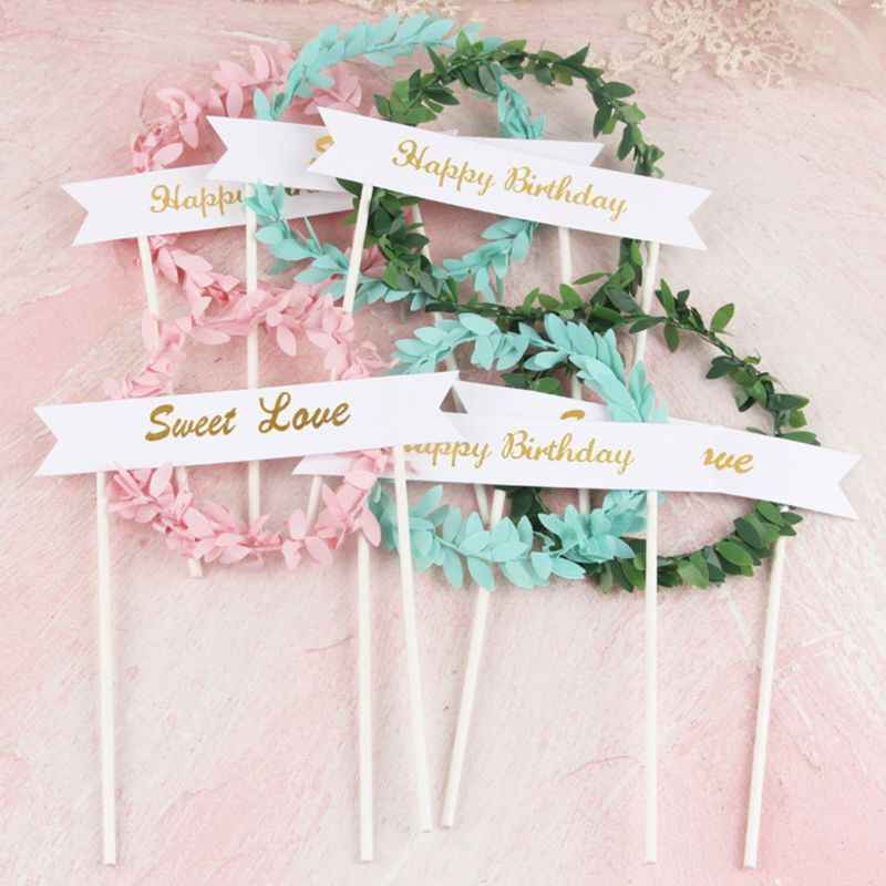 1Pc Cake Topper Leaf Garland Wreath Bunting Flags Happy Birthday Sweet Love Candy Color Cupcakes Dessert Decoration WeddingParty