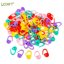 100pcs/lot Looen Brand High Quality Mix Color Mini Knitting Holder Needle Clip Craft Crochet Locking Stitch Plastic Markers Hook