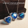 Beautiful!!! White Gold Plated Blue Crystal Zirconia Setting Heart-shape Design Lady Jewelry Set Earrings/Necklace Wholesale