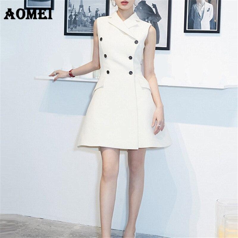 3383cf3408 Women Summer White Dresses Vestidos Sleeveless Office Lady Work Wear Slim  Sundress Double Button Sexy Workwear