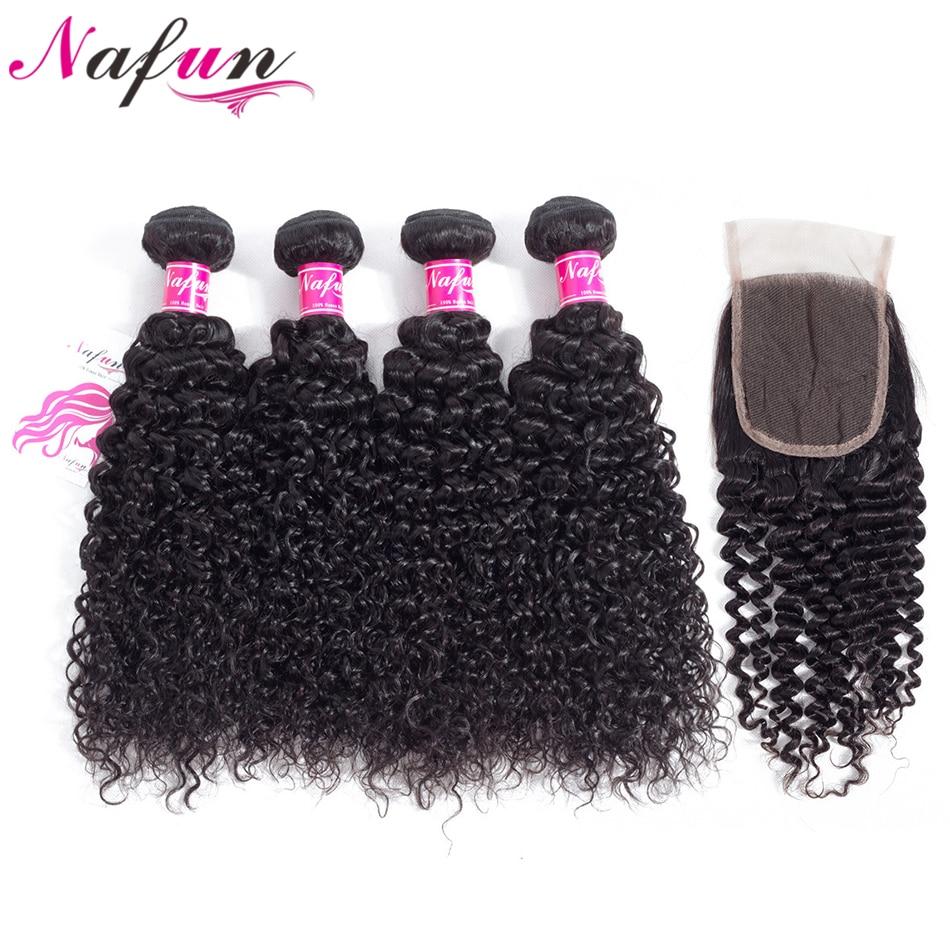 NAFUN Hair 5 Pcs Kinky Curly Brazilian 100% Human Hair Bundles Non Remy Hair Weave Natural Color 4 Bundles With 4*4 Lace Closure