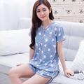 Más el tamaño M-3XL 100% Algodón ocasional del verano pijamas para las mujeres, homewear, ropa de noche ropa de dormir, Conjuntos de pijamas Con Cuello En V