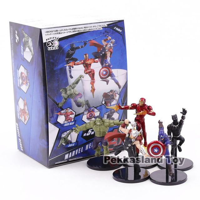 PUTITTO סדרת מארוול סופר גיבורי איש ברזל האלק קפטן אמריקה Thor שחור פנתר PVC דמויות צעצועי 5 יח'\סט