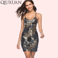 QIUXUAN Sexy Plunging Dress Summer Fashion Sequins Embroidery Spaghetti Strap Dress Lace Up Cut Out Back Bodycon Dress