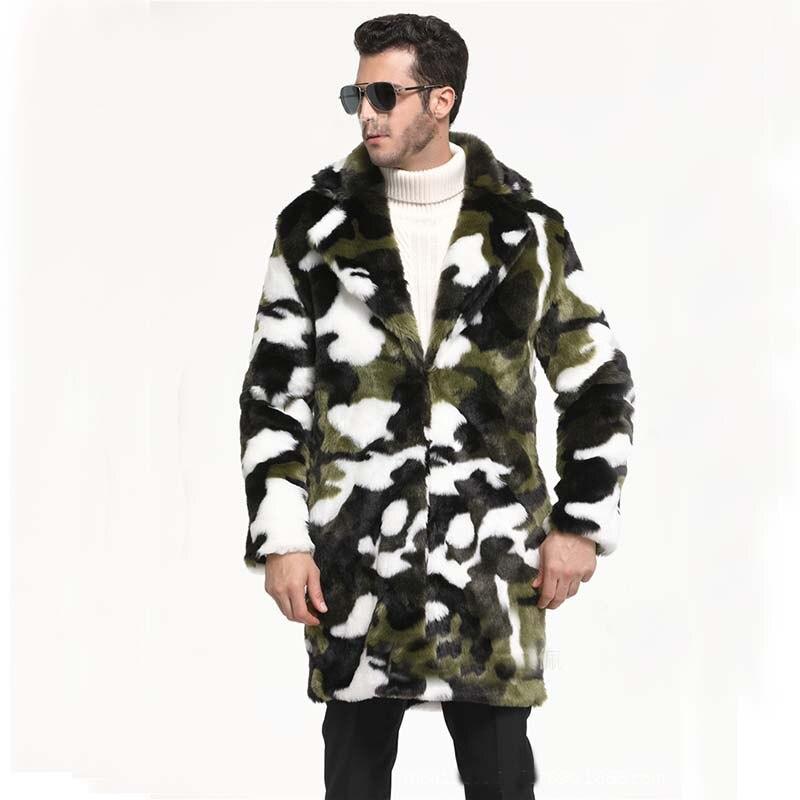 2018 Heißen Neuen Männer Winter Camouflage Anzug Kragen Warme Faux Kaninchen Fell Langen Mantel Leopard Herren Jacke Lose Beiläufige Männliche Mantel Senility VerzöGern