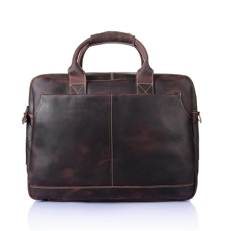 Nesitu de alta calidad Vintage marrón grueso Caballo Loco cuero hombres maletín portafolio de cuero genuino hombres bolsos de mensajero M8013 - 3